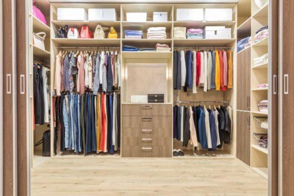 Brown modern walk in closet