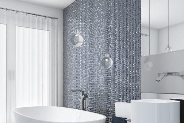 Aura silver mosaic bathroom art