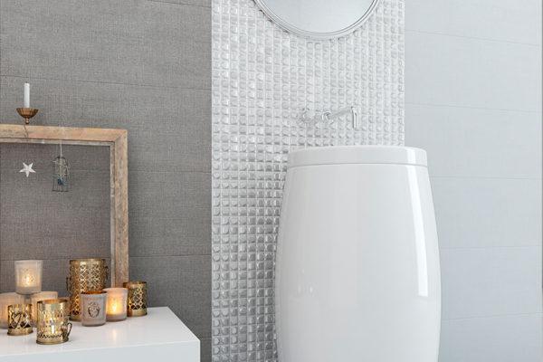 Aura white mosaic art