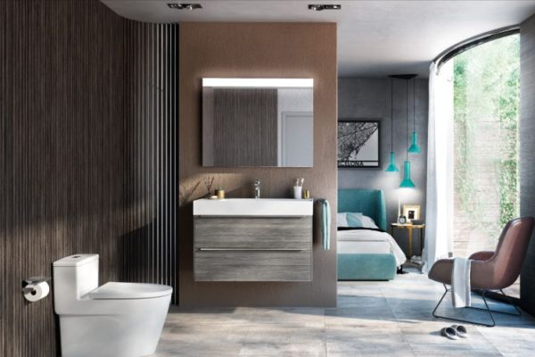Modern room with toilet seat and large window with low hanging lights