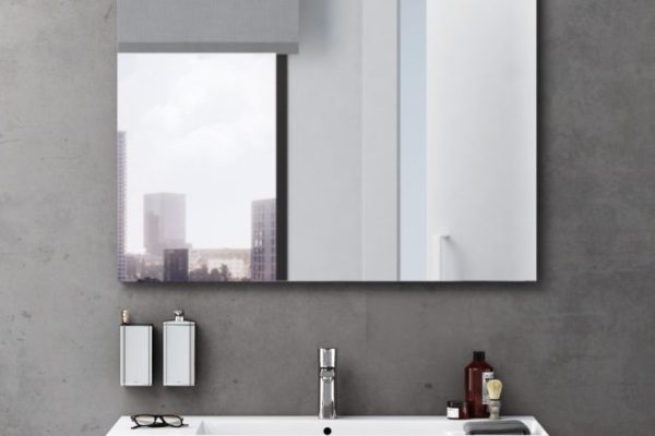 Modern bathroom with large size mirror