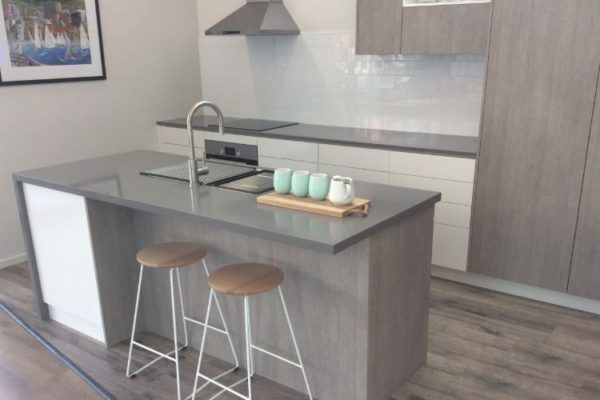 Moder design kitchen top with sink and two seats