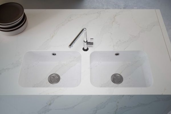 Double basin with sink kitchen top