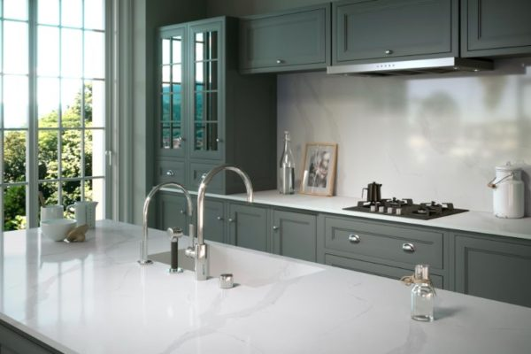 Clear marble kitchen top with double tap sink
