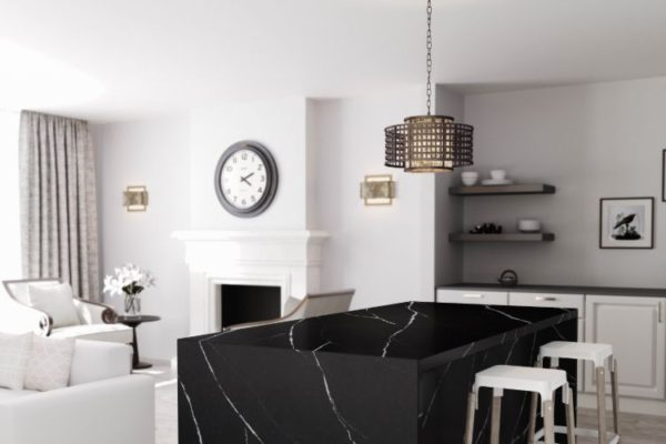 black marble kitchen tops with low hanging