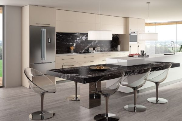 Marble elegant kitchen top with swivel dining seats