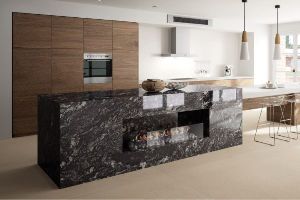 Marble elegant kitchen top with firepit