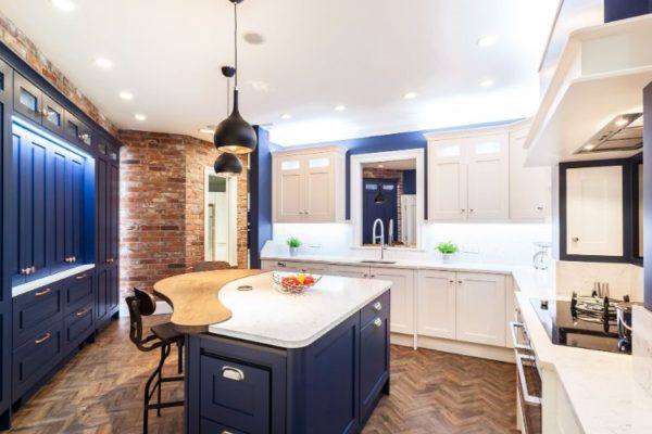 luxurious kitchen top with low hanging pendant lights