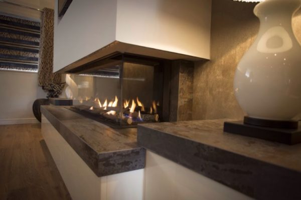 Kitchen top with glass fire pit