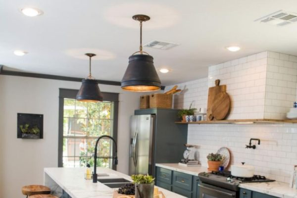 Stylish kitchen top with medium hanging black lights