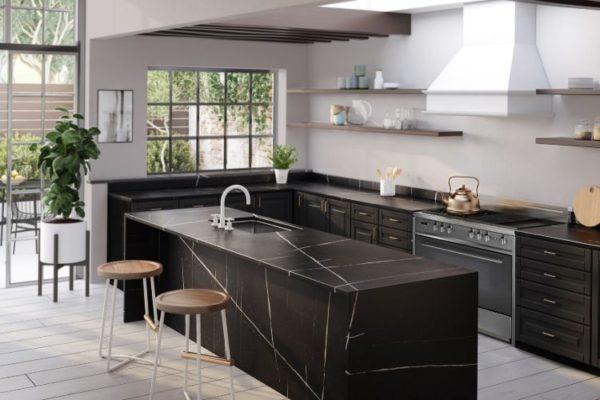 Sophisticated black kitchen top design