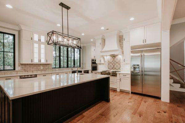 Wooden floor elegant marble kitchen top