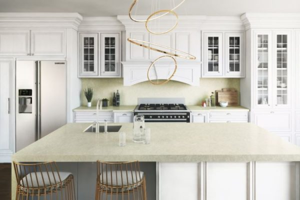 Marble top with sophisticated low hanging lighting