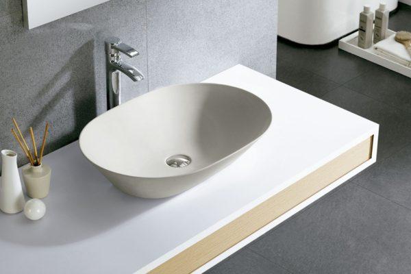 Matt white washbasin