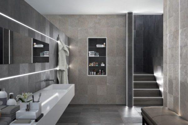 Polished bathroom walls and floor