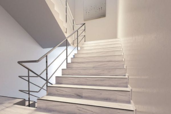 Marble polished stairs with stainless steel stairs