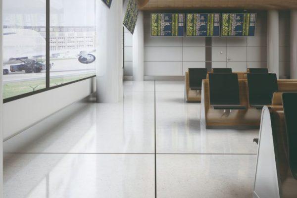 Tile edge strips on floor tiles
