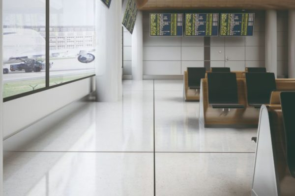 Big square tiles airport waiting lounge