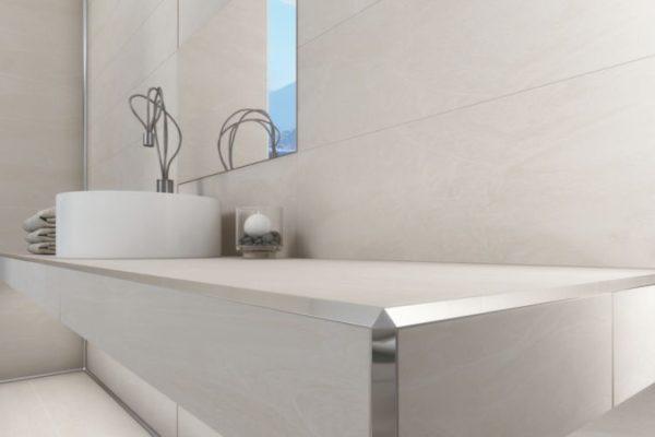 Elegant Tile edge strips on bathroom sinkk