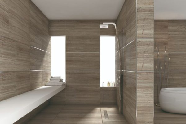 Brown tile floor and wall bathroom with shower