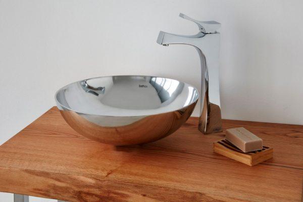 Stainless steel gray vessel basin