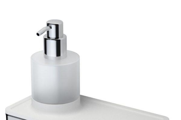 Geesa white soap dispenser with shelf
