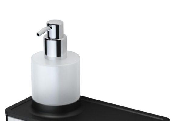Soap dispenser with bathroom shelf