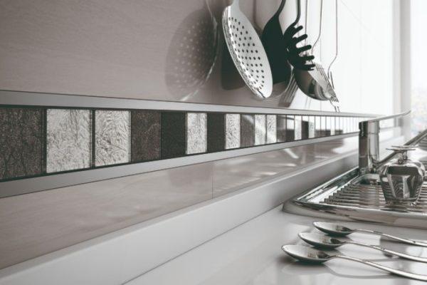 Shiny kitchen tile edge strips