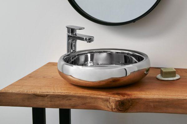 Shiny tainless steel circualt handbasin