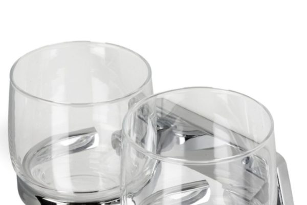 Double glass holder with two glasses