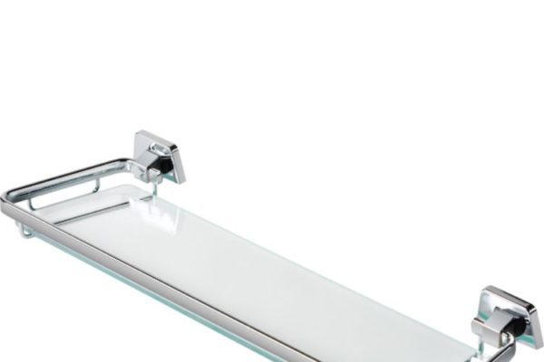 Geesa glass bathroom shelf with stainless steel guard rails'
