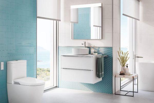 Horizontal two shelf bath cabinets