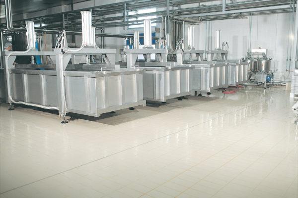 Manufacturing plant white floor tiles