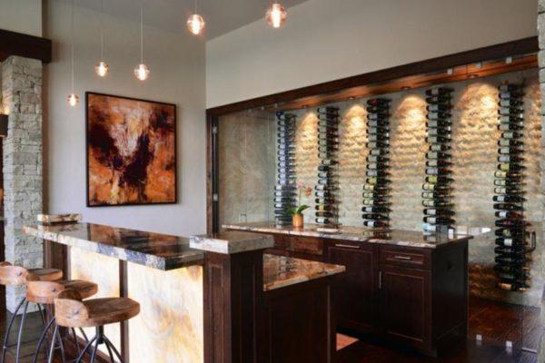 Basement bar and vertical wine rack