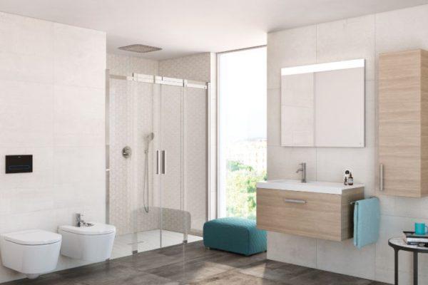 Roca one piece toilet bathroom cabinet