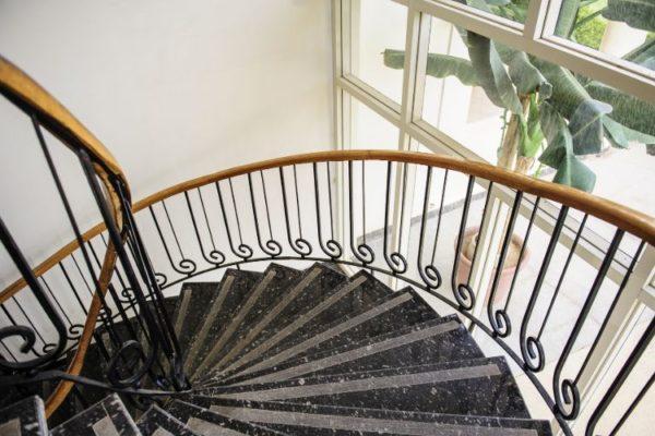 Gray spiral granite staircases