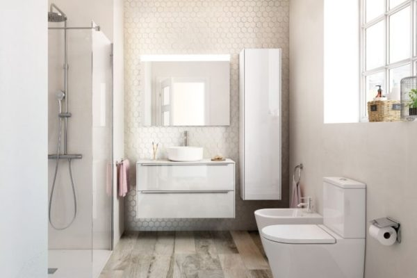 Vertical white cabinet