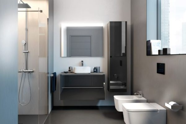 Roca one piece toilet with low sink and large window