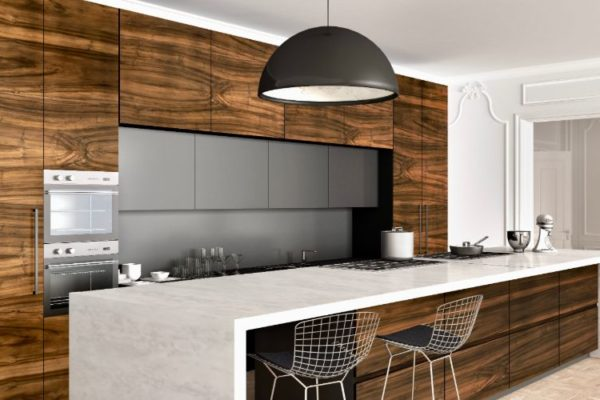 Granite kitchen top with low hanging light