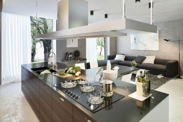 Glass black kitchen top