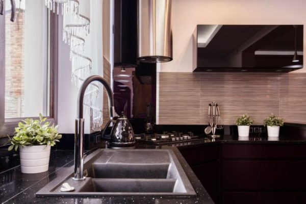 Granite kitchen tops with double basin and single tap