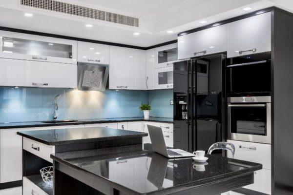 Granite gray shiny kitchen top