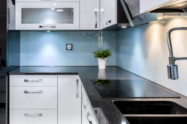 Gray tile kitchen top