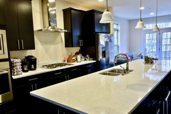 White granite kitchen top with double basin sink