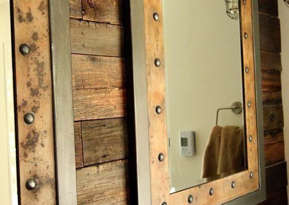 Bathroom mirror with steel frames