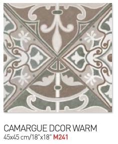 Floral camargue decor warm 45by45cm floor tiles