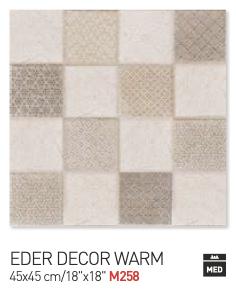 Eder decor warm 45by45cm floor tiles