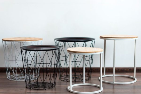 round metallic wooden top stools