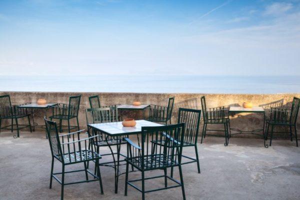 Metallic restaurant chairs