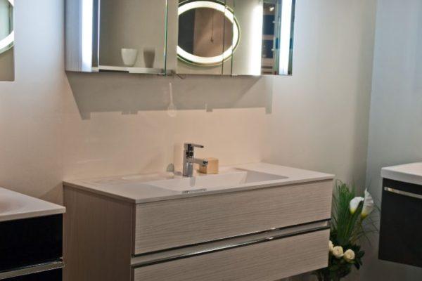 Polished wooden horizontal cabinets